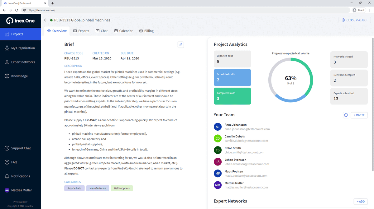Screenshot from the Inex One project dashboard